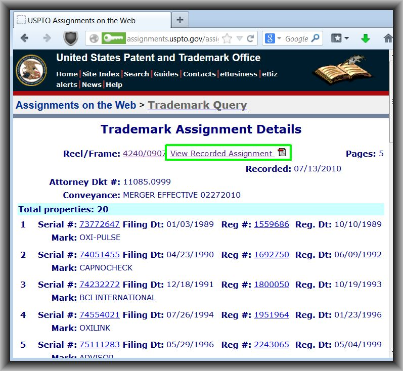 Search patent assignments