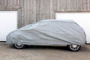a Detroit test car with a car cover